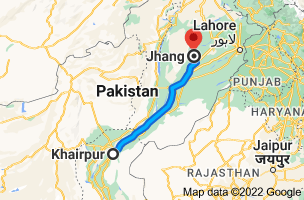 Map from Khairpur to Jhang